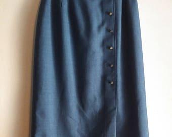 Vintage 80's Chambray Blue Pencil Skirt / Secretary Skirt / Women's Size S/M /  Long Skirt / Office Wear