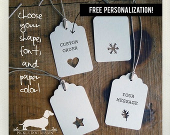 Single Shape. Personalized Gift Tags (Set of 12) -- (Heart, Snowflake, Star, Leaf, Bridal Shower, Wedding Favor Tags, Baby Shower, Custom)
