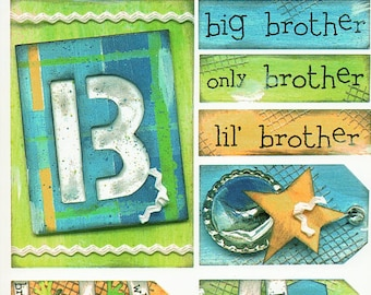 Brother Titles Tags Borders Bo Bunny  Cardstock Scrapbook Stickers Embellishments Card Making