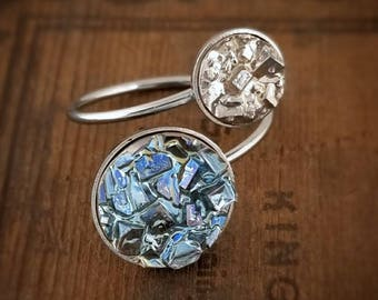 Bismuth Ring - Earth and Moon - Stainless Ring