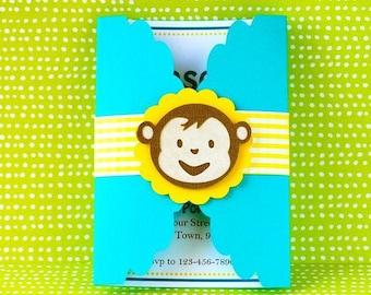 Boy Mod Monkey Inspired Custom Gate fold invitation