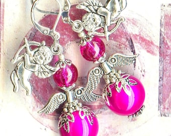 Earrings Angel magic FUCHSIA silver glass OR750 ✿ ✿