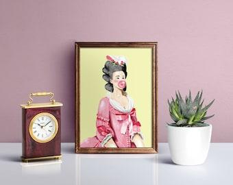 Marie Antoinette Print, Girl Power Print, Baroque Kawaii, Gift for Her, Illustration Print, Wall art, A5, A4, Funny Illustration