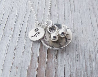 Sterling Silver Bird Nest Necklace, Nest Egg Necklace, Hand Stamped Bird Nest, Mama Bird, Mother's Jewelry, Mother's Day Gift, For Her