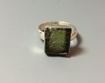 Moldavite ring, US size 7.25