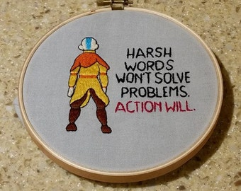 Avatar the Last Airbender Aang and quote embroidery