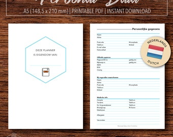 Personal information, Printable A5 planner insert