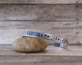 Hand Stamped Inspirational Silver Cuff Bracelet