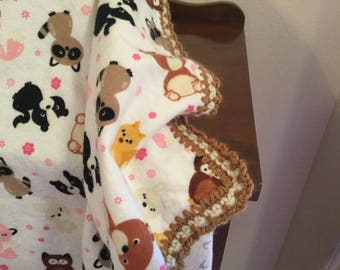 Baby Flannel Receiving Blanket with animals