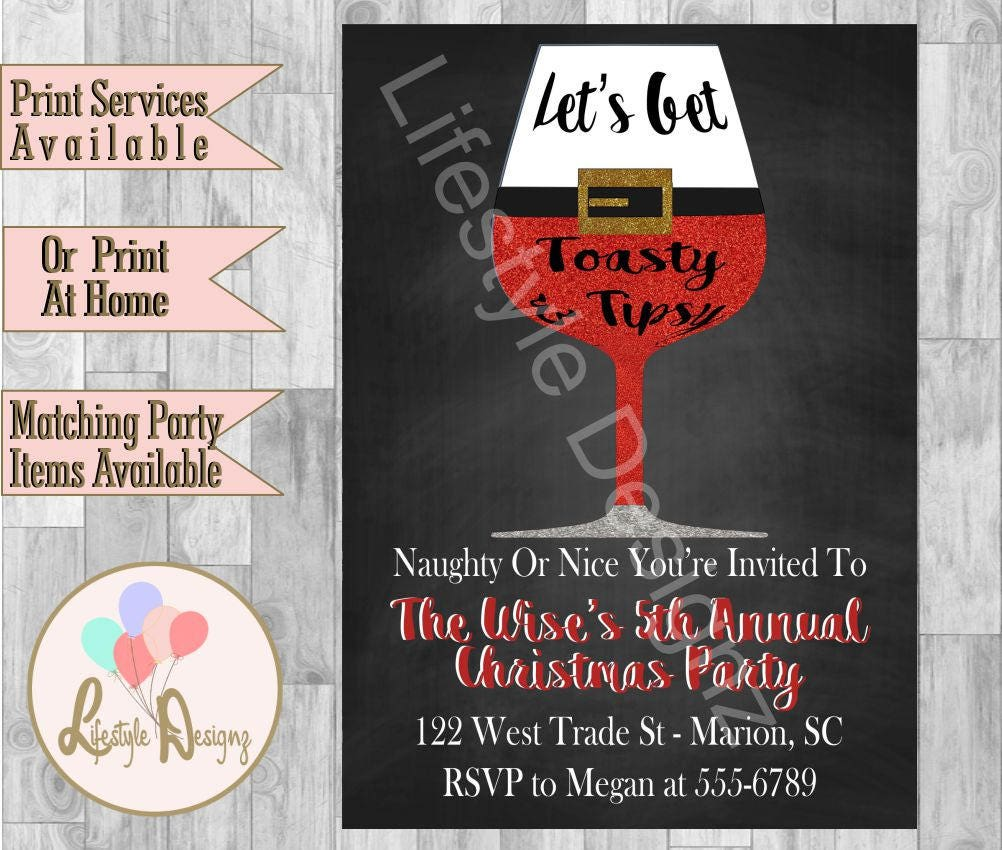Cocktail party invitation lets get toasty christmas party zoom monicamarmolfo Image collections