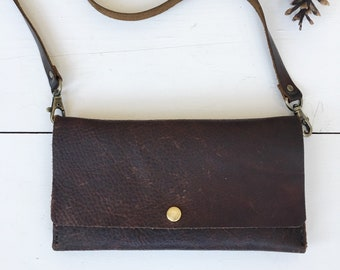 Brown Leather Crossbody Bag - Leather Clutch - Trifold Purse - Leather Shoulder Bag - Minimalist Purse - Small Leather Bag - Boho Clutch