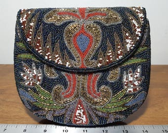 Beaded Blue Multi-colored Vintage evening bag