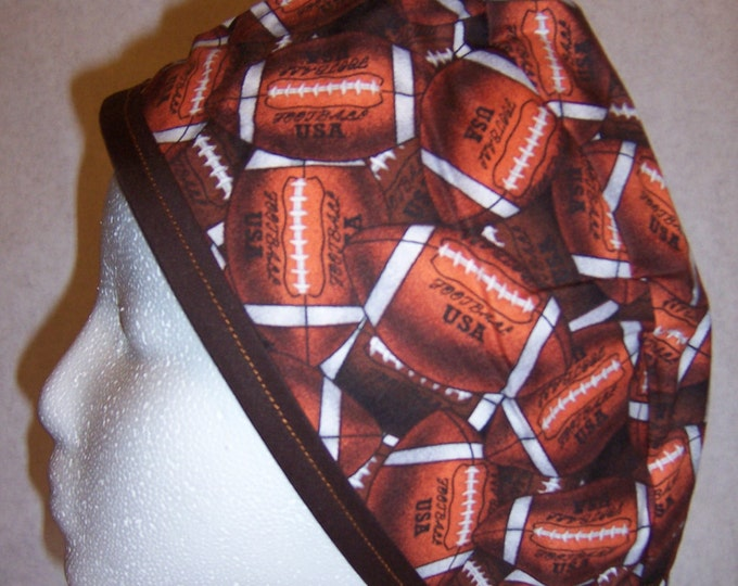 Football printed fabric surgical cap with tie closure