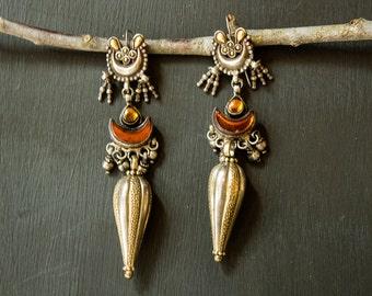 Mother's Day Gifts For Her Oxidized Silver Earrings Long Earrings Tribal Earrings Ethnic Earrings Dangle Earrings Rajasthani India Silver