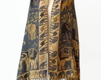 Elephant Scarf Shawl Safari Golden Glitter Pashmina Style Vegan Fabric Wrap Women Scarf gift For Her Mothers Mom Dark Gray