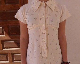 Short dress flowers with shirt collar upcycled 70s vintage