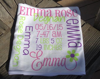 Birth Announcement Blanket with Name - Custom Receiving Blanket - Personalized Baby Blanket - Birth Stats Blanket - Baby Photo Prop