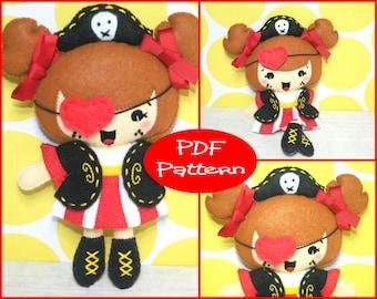 Felt Doll Pattern, Pirate Girl, PDF Pattern, Pirate Plush, Sewing Tutorial, Doll Tutorial, Felt Pirate, Pirate Toy, Kawaii Doll, Soft Toy,