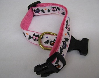 Pink Love Bats Dog Collar - MULTIPLE SIZES AVAILABLE