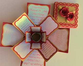 Wedding Card CUSTOM Personalized Exploding Box Card Made to Order You Choose Colors and Designs