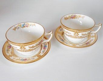 Antique Wedgewood Teacup and Saucer, Two Sets, Circa 1900