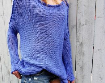 Oversize  Slouchy Merino Wool sweater. Chunky , loose knit sweater.