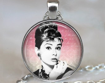 Audrey Hepburn necklace, Audrey Hepburn pendant, Classic Hollywood actress gift for movie buff key ring key chain key fob
