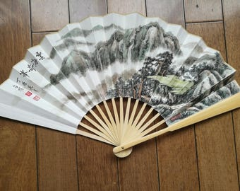 Chinese painting fan a grand view of a sea of clouds with mountain ink drawings with chinese calligraphy good gift ideas and collectibles