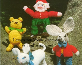 Teddy MarchHare Gnome Lamb toy Kniting Pattern PDF 518 from WonkyZebra by ToyPatternLand