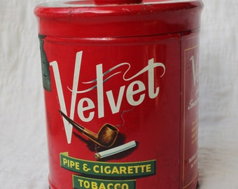 Velvet Tobacco Tin - vintage - red