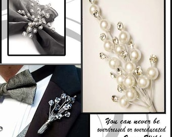 Pearl stems with rhinestones for bridal headpieces, bouquets and corsages