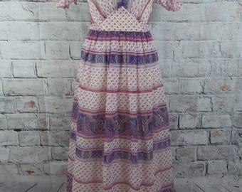 vintage 1970s Indian maxi dress size 8 cream pink short sleeve boho hippie hippy gypsy