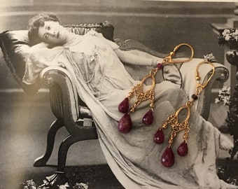 Chandelier Earrings in vermeil and Ruby roots drops