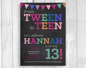 Custom Printable 5x7 Tween To Teen Girl's 13th Thirteen Birthday Party Invitation - Chalkboard with Colorful Party Banner - Digital