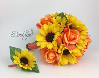 CHOOSE RIBBON COLOR - Sunflower and Coral Rose Bouquet, Sunflower Bridesmaid / Bridal Bouquet, Sunflower Bridal Bouquet, Sunflower Wedding