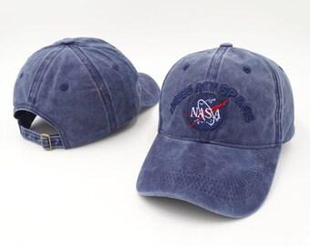 Blue suede nasa baseball cap