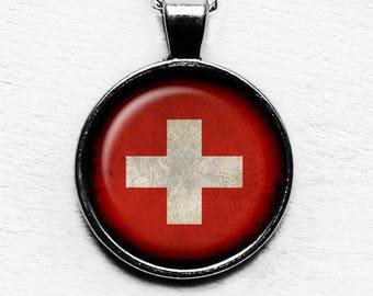 Switzerland Swiss Flag Pendant & Necklace