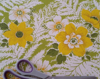Vibrant green and yellow floral retro vintage 1960's wallpaper