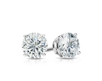 14k Gold 4-Prong Basket Round Diamond Stud Earrings 0.50 ct. tw. (H-I, I2)