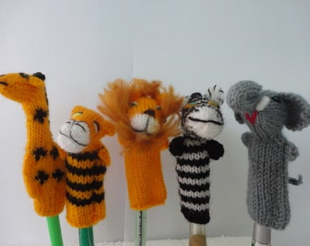 5 Wool Peruvian Finger Puppet Jungle Animals Collectable Handmade New Peru (You receive 5 Finger Puppets that are in the photos)