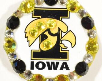 University of Iowa Hawkeyes Swarovski Crystal Embellished Retractable ID Badge Reel