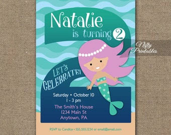Two year old invites etsy mermaid invitation 2nd birthday invitations girls 2nd birthday party invites printable two year filmwisefo
