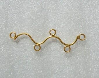 Handmade Gold Vermeil 5 rings Connector Link, Bar Connector, 40x12mmmm, 2 pcs - CC-0012
