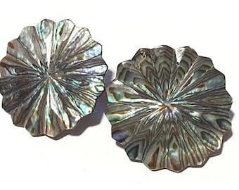 Abalone Shell clip on Earrings, Shell earrings, Iridescent Shell earrings