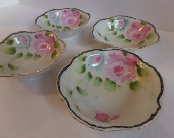 Vintage Floral China Bowls Set of 4 Hand painted Roses
