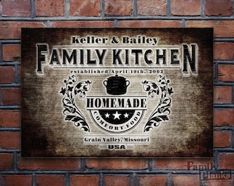 Kitchen Wood Print Personalized on a 16x24 Re-purposed Wood Siding Plank for Indoor/Outdoor Wall Art