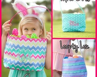 Girls Easter Basket, Monogrammed Easter Basket, Personalized Easter Basket, Embroidered Easter Basket, Easter Bucket, Kids Easter Basket