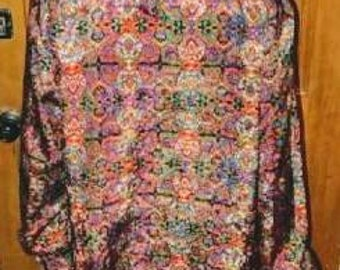 Vintage hippie shirt, vintage peasant sleeve shirt, 70s top