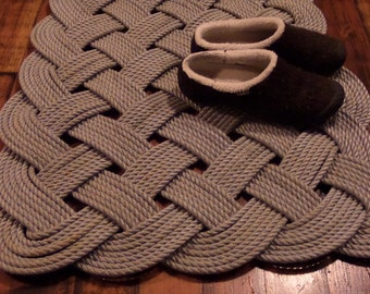 """Large Hall Runner Silver Rope Recycled Line 48 x 24"""" Rope Rug Nautical Rustic Beach Knotted Made in Alaska"""