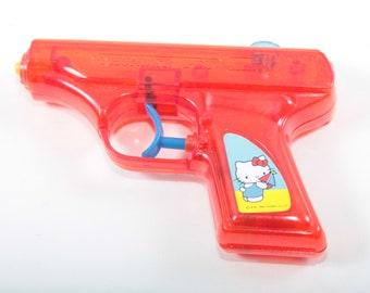 Hello Kitty, Plastic Water Pistol, Red Pistol, Cat, Animal, Sanrio, Children, Collection, Vintage, Nostalgia ~ 170604